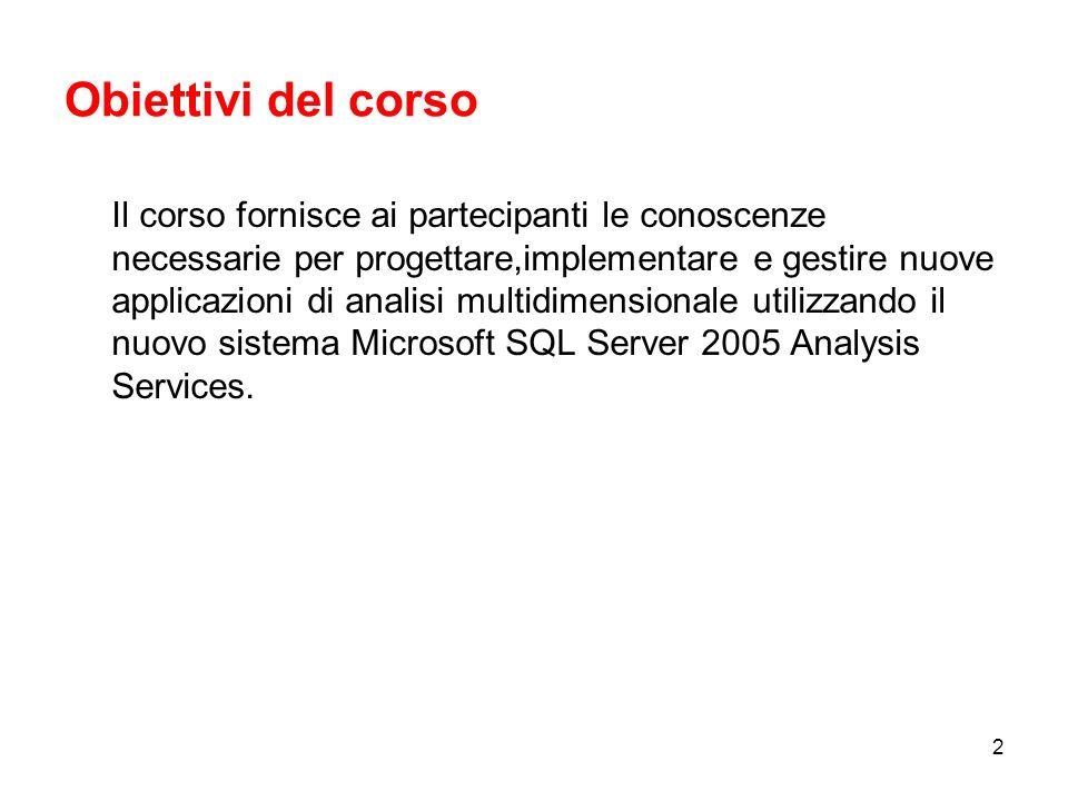 2 Obiettivi del corso Il corso fornisce ai partecipanti le conoscenze necessarie per progettare,implementare e gestire nuove applicazioni di analisi multidimensionale utilizzando il nuovo sistema Microsoft SQL Server 2005 Analysis Services.