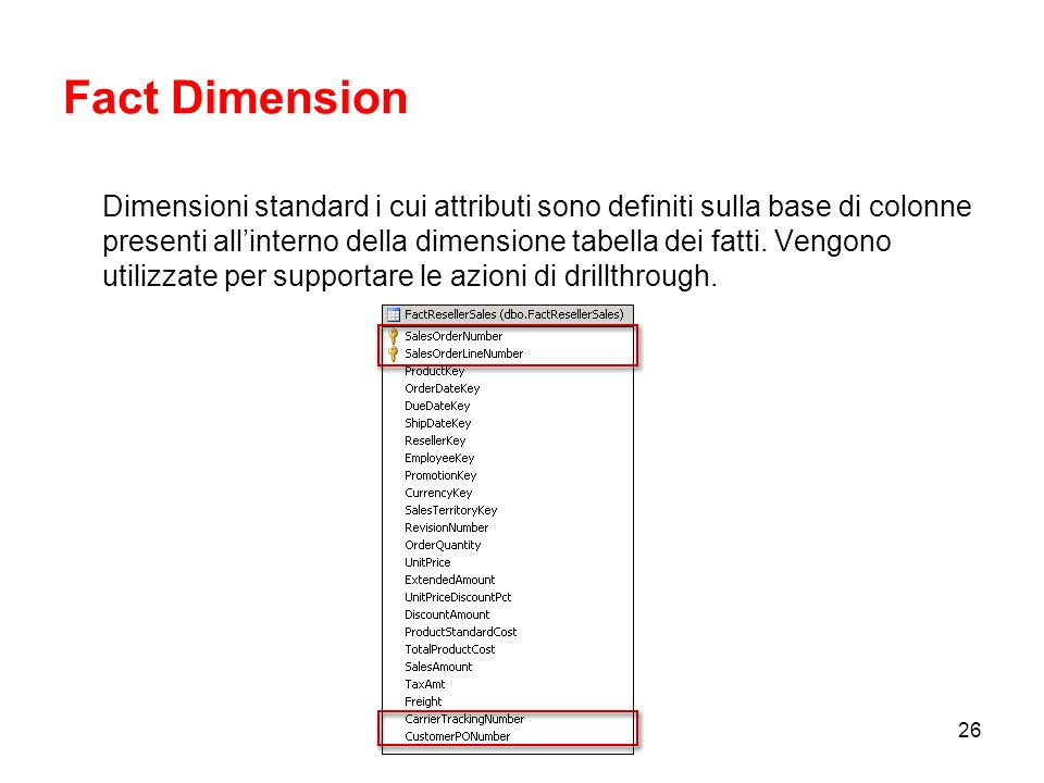 25 Regular, Role-Playing e References Una Regular Dimension è una dimensione correlata direttamente alla Fact Table attraverso lattributo chiave.