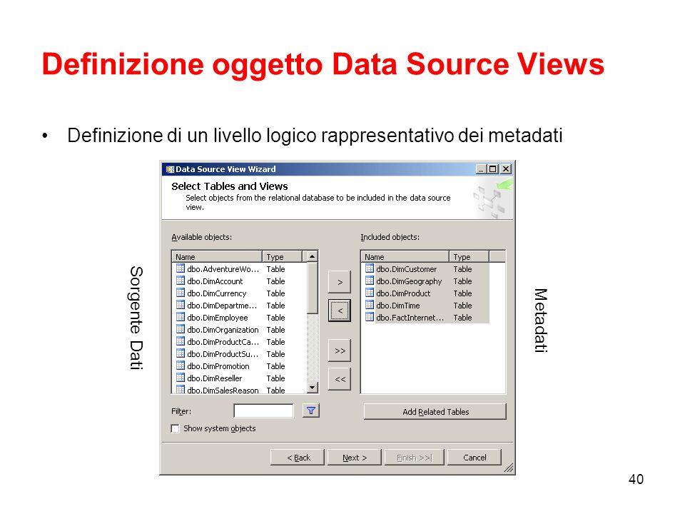 39 Definizione oggetto Data Source Creazione oggetto di connessione ad una fonte dati.