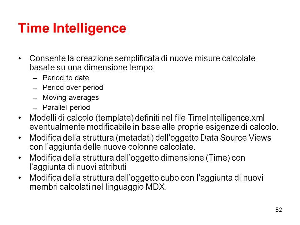 51 Business Intelligence enhancement Aggiungere valore alle strutture multidimensionali mediante Business Intelligence Wizard.