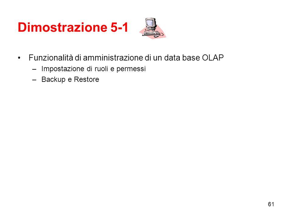 60 Backup e Restore In SSAS 2005 un amministratore può effettuare il backup di un database AS direttamente su file system.