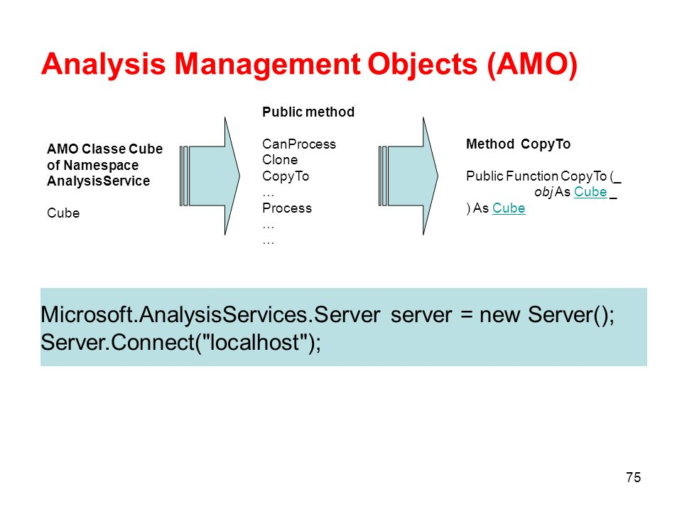 74 Analysis Management Objects (AMO) AMO è una libreria di oggetti MS.NET da utilizzare allinterno di una applicazione.