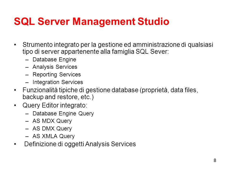 38 Ambiente di lavoro Business Intelligence Development Studio (Visual Studio 2005) Definizione degli oggetti Definizione delle proprietà