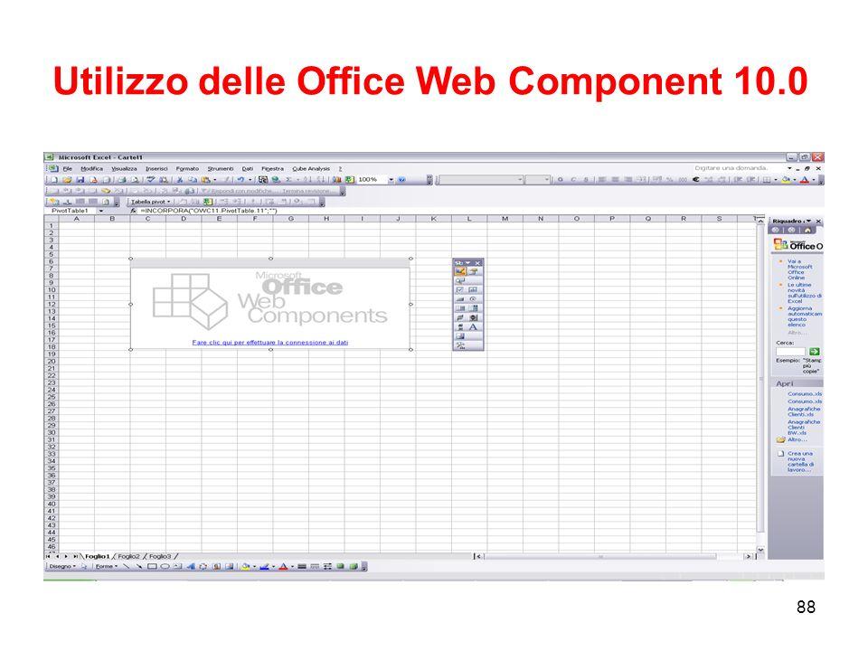 87 Strumenti Microsoft per lAnalisi multidimensionale Office OLAP Components –Pivot Table Service –Excel Pivot Table –Office Web Component Reporting Service –Reports a matrice –Delivery di Reports (e-Mail;file sharing;etc.) –Format Rendering Reports (PDF, Excel, Html, Xml)