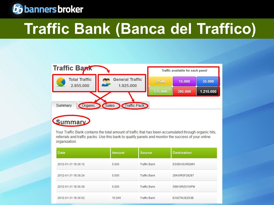Copyright © BannersBroker. All rights reserved. 6 Traffic Bank (Banca del Traffico)