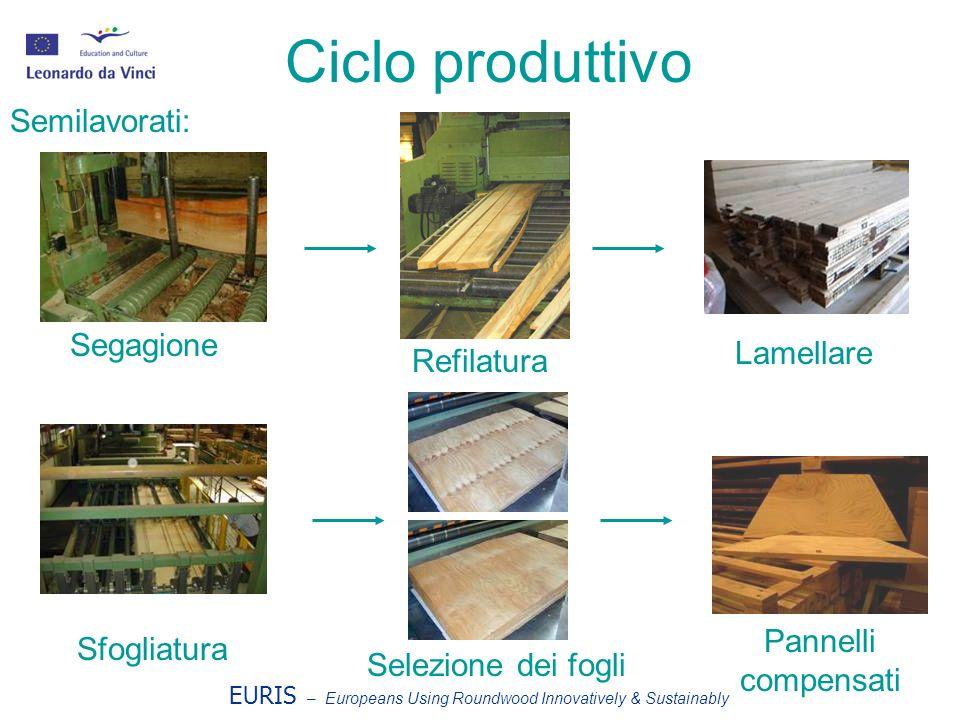 EURIS – Europeans Using Roundwood Innovatively & Sustainably Ciclo produttivo Segagione Refilatura Lamellare Sfogliatura Selezione dei fogli Pannelli compensati Semilavorati: