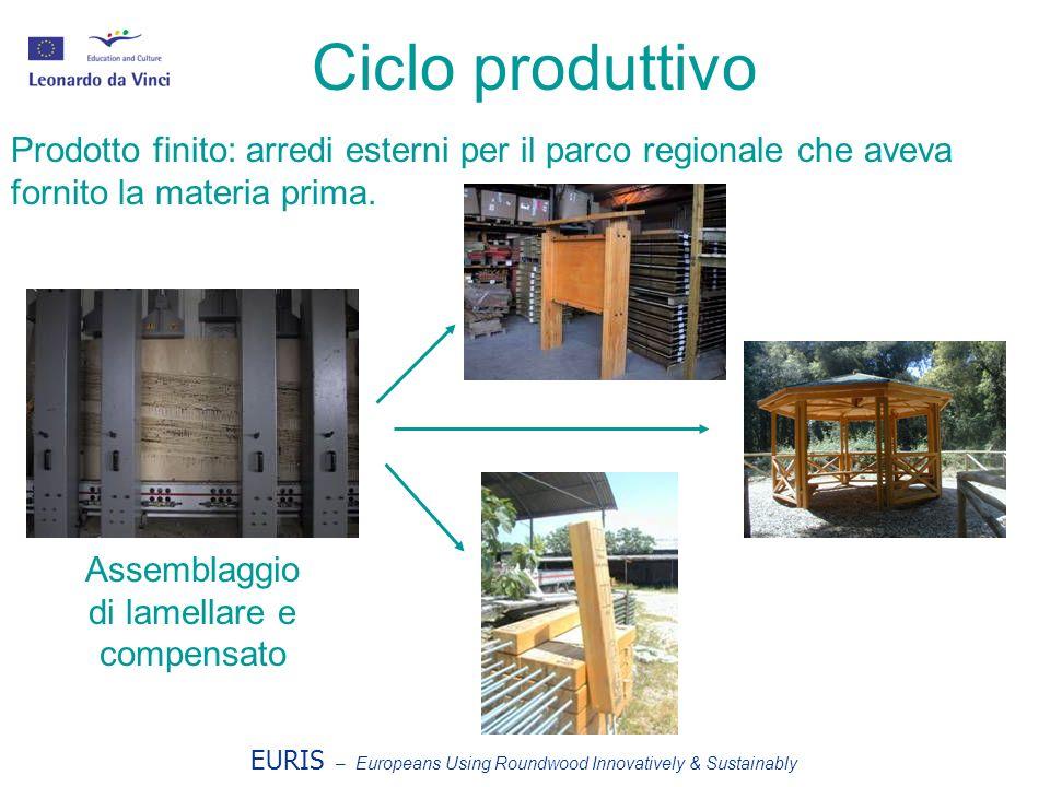 EURIS – Europeans Using Roundwood Innovatively & Sustainably Ciclo produttivo Prodotto finito: arredi esterni per il parco regionale che aveva fornito
