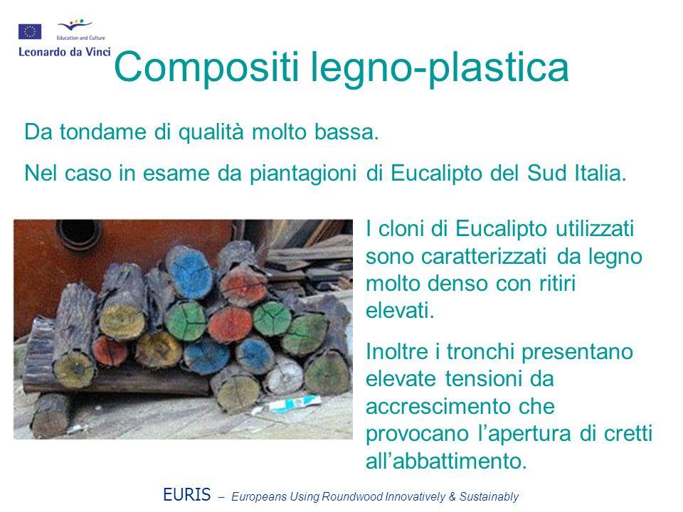 EURIS – Europeans Using Roundwood Innovatively & Sustainably Compositi legno-plastica Da tondame di qualità molto bassa. Nel caso in esame da piantagi