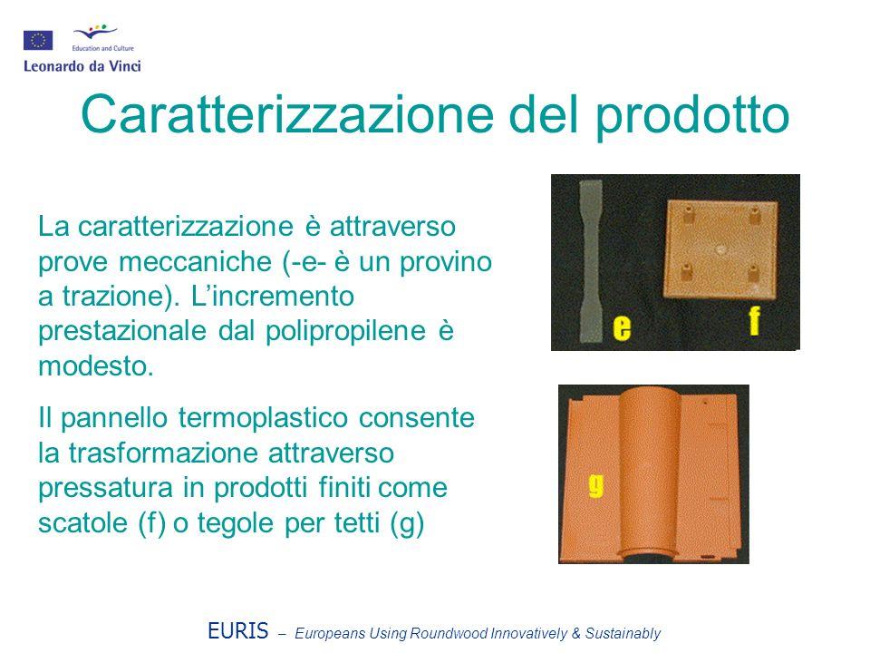 EURIS – Europeans Using Roundwood Innovatively & Sustainably Caratterizzazione del prodotto La caratterizzazione è attraverso prove meccaniche (-e- è un provino a trazione).