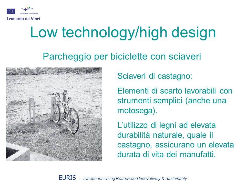 EURIS – Europeans Using Roundwood Innovatively & Sustainably Low technology/high design Parcheggio per biciclette con sciaveri Sciaveri di castagno: Elementi di scarto lavorabili con strumenti semplici (anche una motosega).