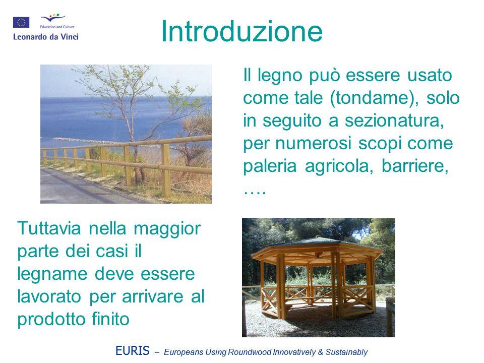 Introduzione EURIS – Europeans Using Roundwood Innovatively & Sustainably Il legno può essere usato come tale (tondame), solo in seguito a sezionatura, per numerosi scopi come paleria agricola, barriere, ….