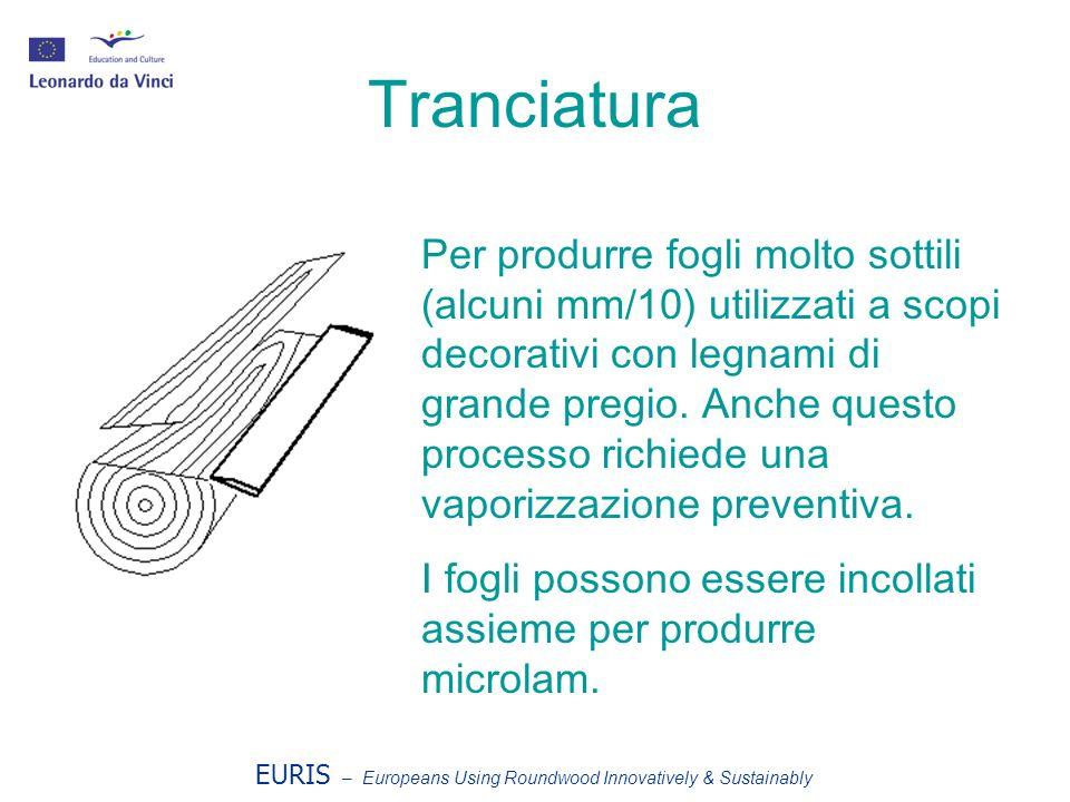 EURIS – Europeans Using Roundwood Innovatively & Sustainably Tranciatura Per produrre fogli molto sottili (alcuni mm/10) utilizzati a scopi decorativi con legnami di grande pregio.