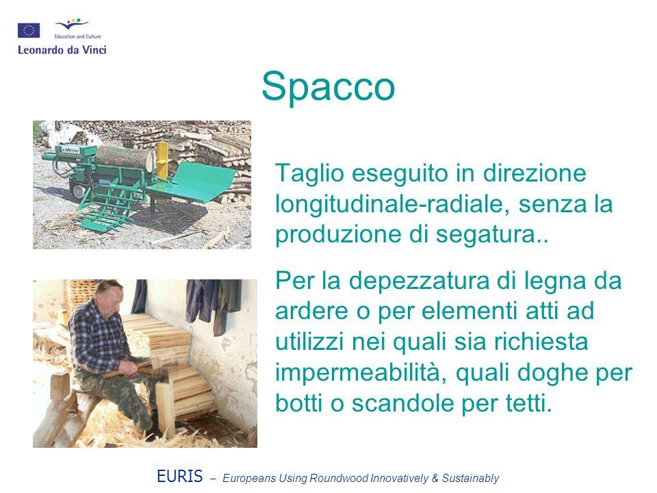 EURIS – Europeans Using Roundwood Innovatively & Sustainably Spacco Taglio eseguito in direzione longitudinale-radiale, senza la produzione di segatura..