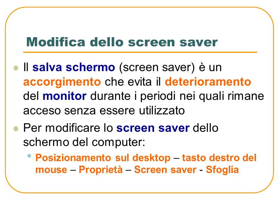 Modifica dello sfondo del desktop Lo sfondo del desktop può essere rappresentato da una immagine o da un colore Per scegliere una immagine come sfondo