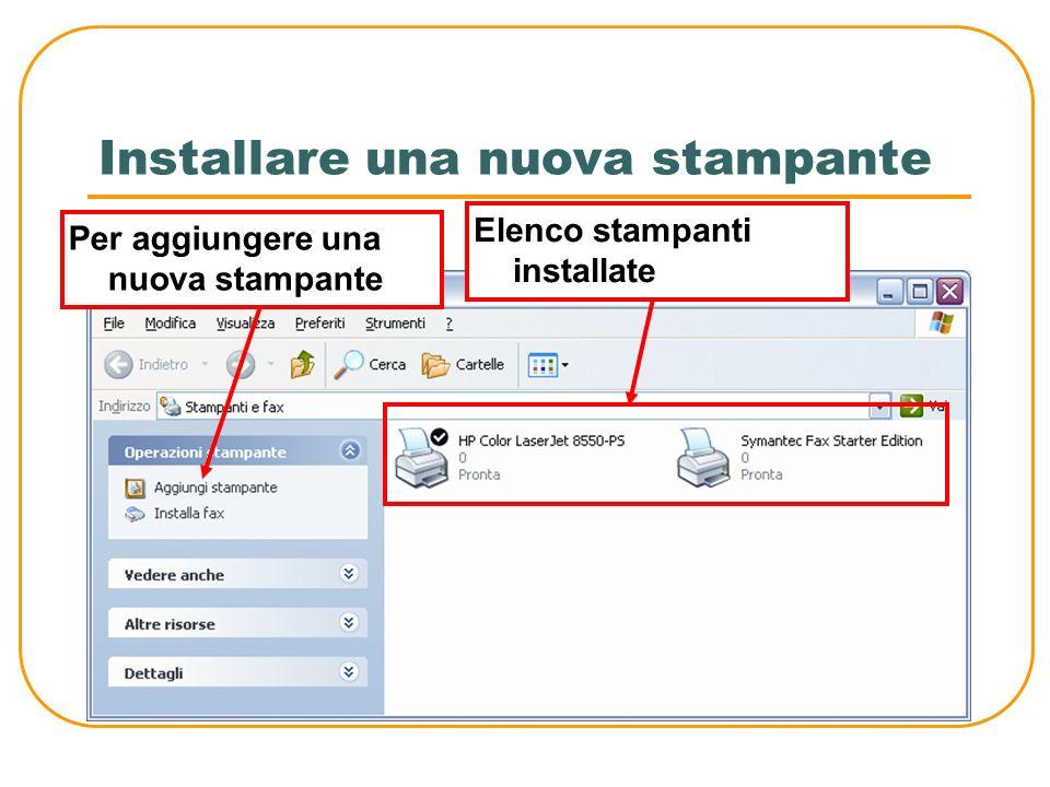 La verifica delle stampanti installate Per visualizzare lelenco delle stampanti installate sul computer: Start – Impostazioni - Stampanti e fax Per aggiungere una nuova stampante: Start – Impostazioni - Stampanti e fax - Aggiungi stampante