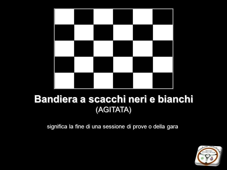 Bandiera a scacchi neri e bianchi (AGITATA) significa la fine di una sessione di prove o della gara