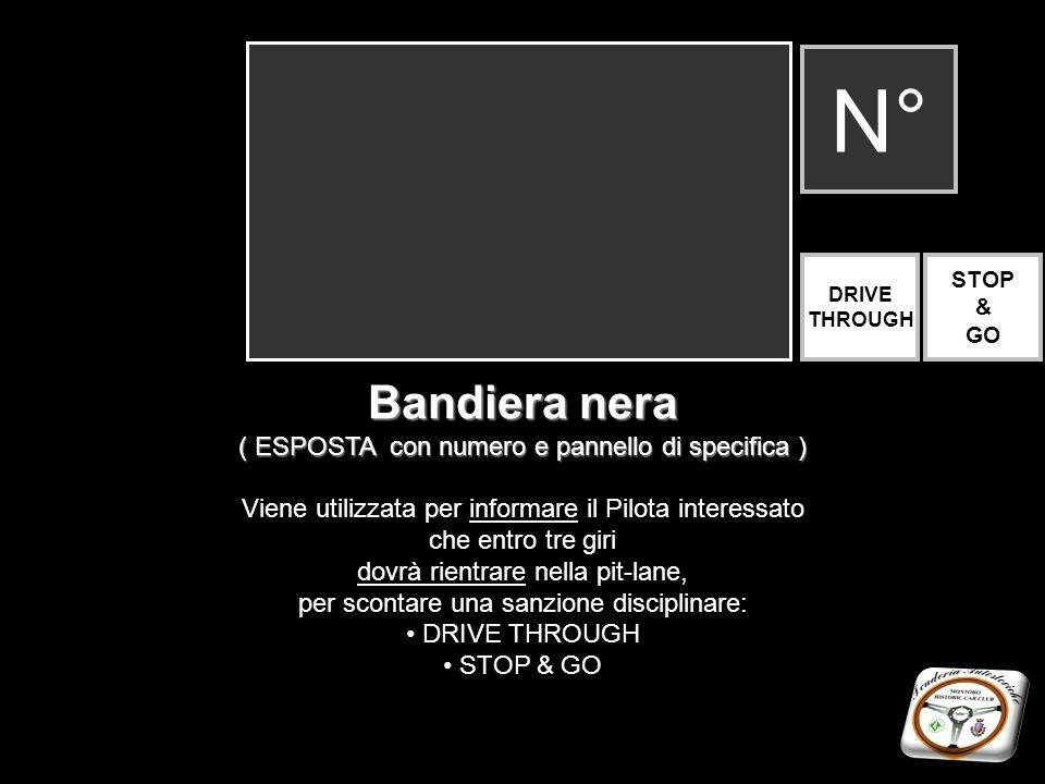 Bandiera nera ( ESPOSTA con numero e pannello di specifica ) Viene utilizzata per informare il Pilota interessato che entro tre giri dovrà rientrare n