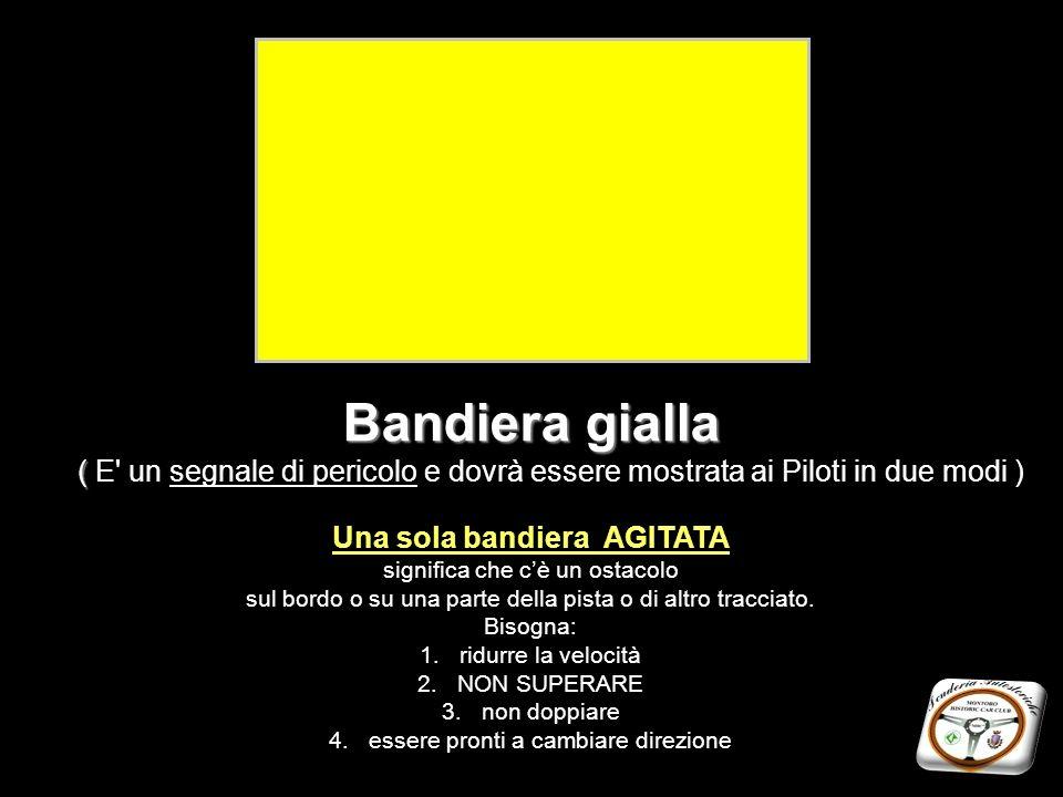 Bandiera gialla ( Bandiera gialla ( E' un segnale di pericolo e dovrà essere mostrata ai Piloti in due modi ) Una sola bandiera AGITATA significa che