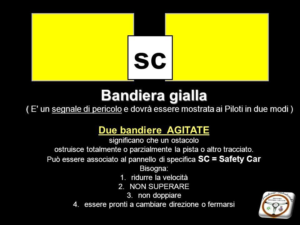 Bandiera gialla ( Bandiera gialla ( E' un segnale di pericolo e dovrà essere mostrata ai Piloti in due modi ) Due bandiere AGITATE significano che un