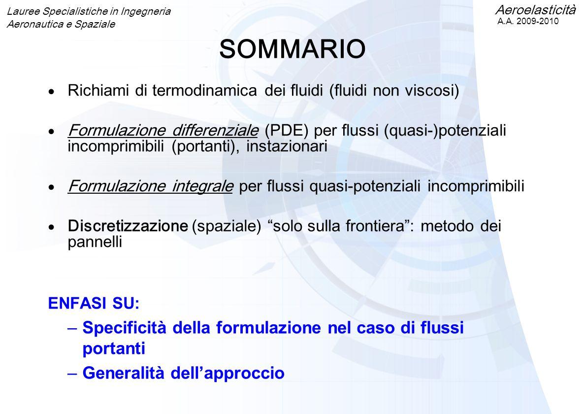 Aeroelasticità A.A. 2009-2010 Lauree Specialistiche in Ingegneria Aeronautica e Spaziale ENFASI SU: –Specificità della formulazione nel caso di flussi