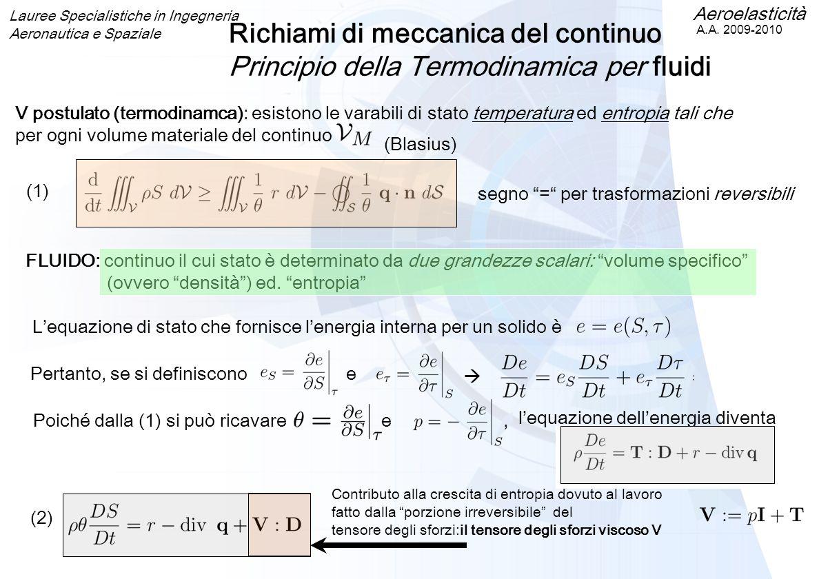 Aeroelasticità A.A. 2009-2010 Lauree Specialistiche in Ingegneria Aeronautica e Spaziale Richiami di meccanica del continuo Principio della Termodinam