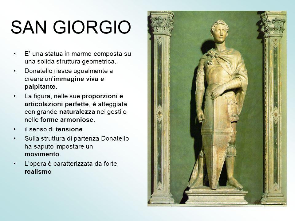 SAN GIORGIO E una statua in marmo composta su una solida struttura geometrica.