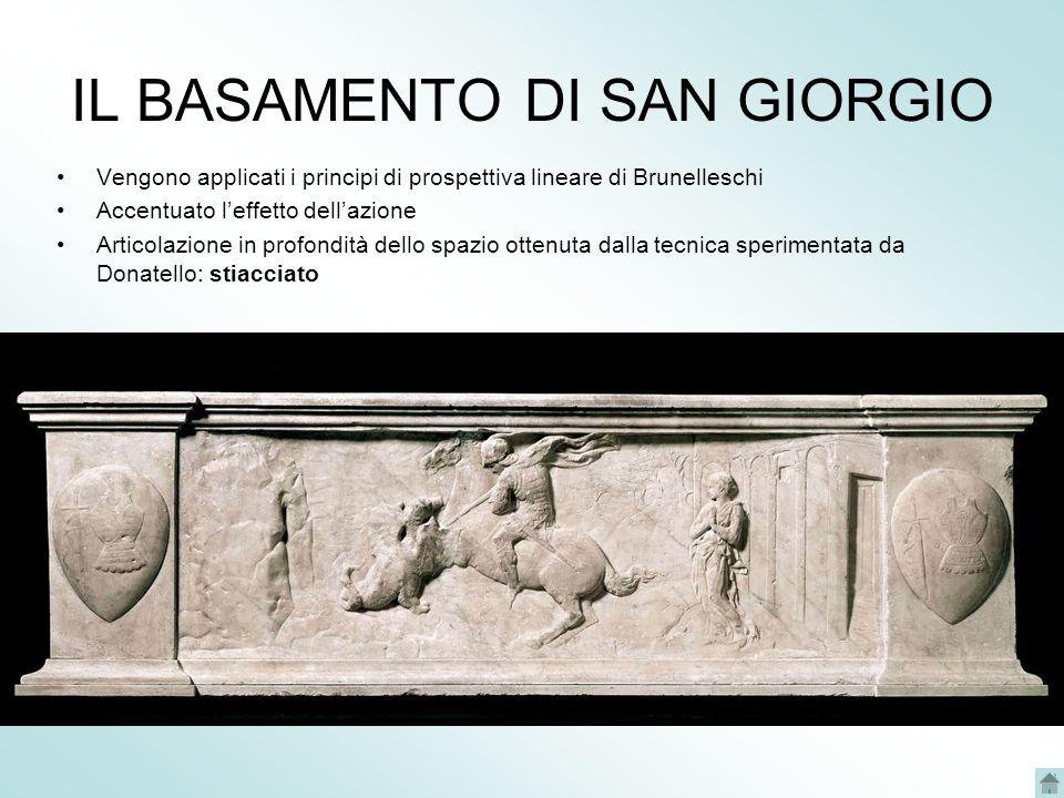 IL BASAMENTO DI SAN GIORGIO Vengono applicati i principi di prospettiva lineare di Brunelleschi Accentuato leffetto dellazione Articolazione in profondità dello spazio ottenuta dalla tecnica sperimentata da Donatello: stiacciato