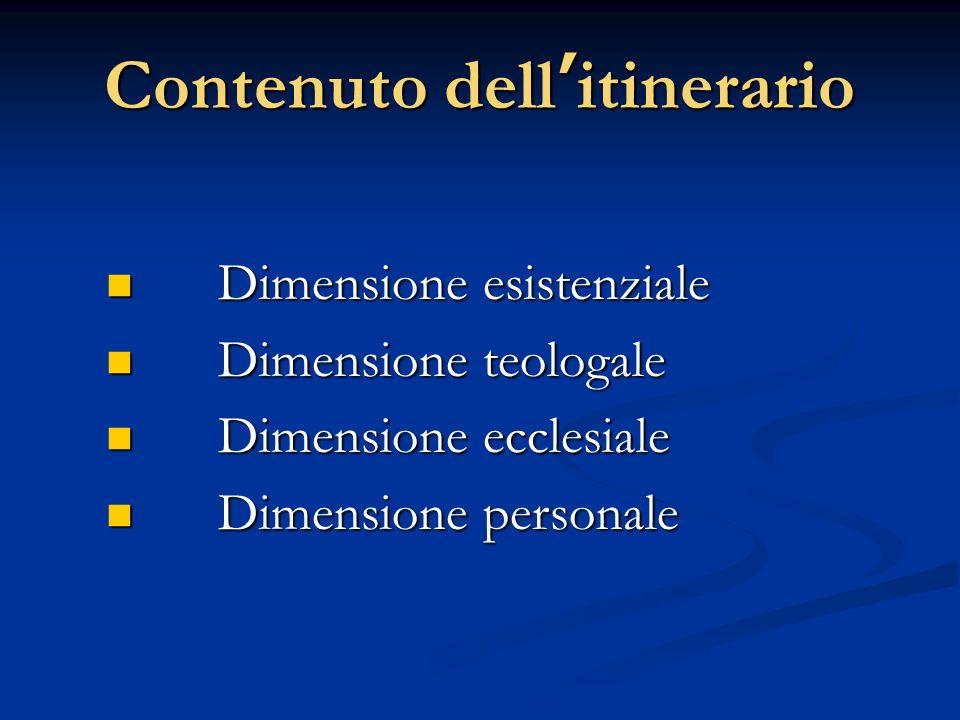 Contenuto dellitinerario Dimensione esistenziale Dimensione esistenziale Dimensione teologale Dimensione teologale Dimensione ecclesiale Dimensione ec
