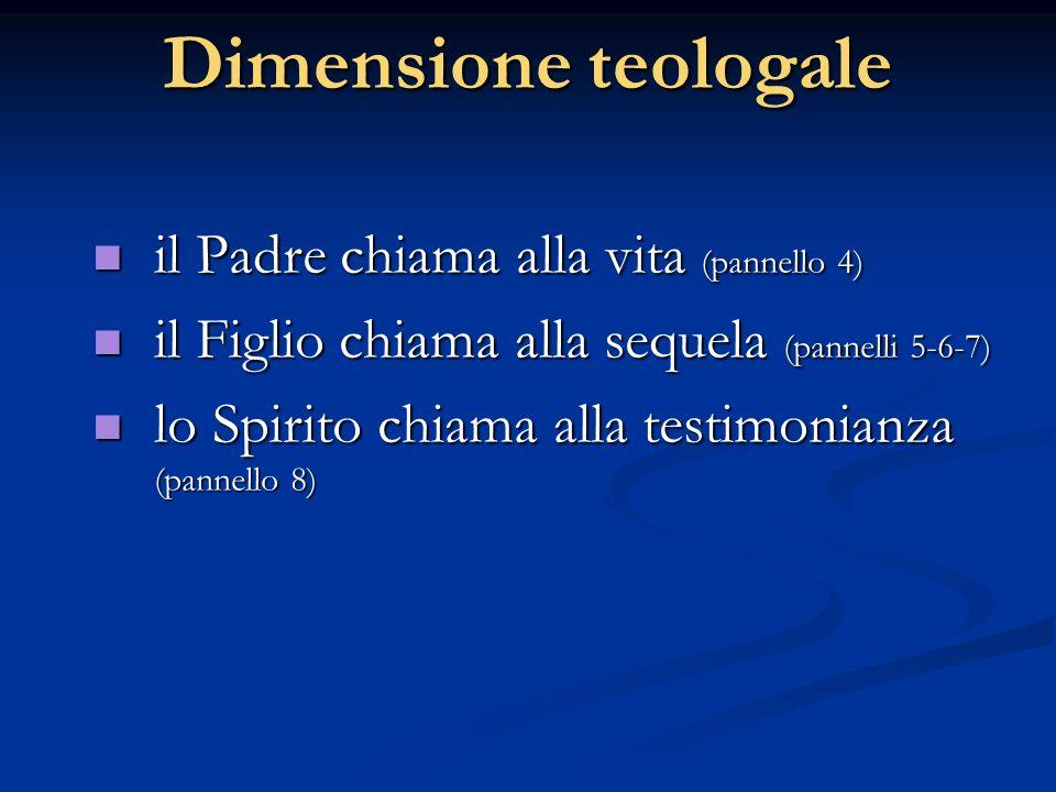Dimensione teologale il Padre chiama alla vita (pannello 4) il Padre chiama alla vita (pannello 4) il Figlio chiama alla sequela (pannelli 5-6-7) il F
