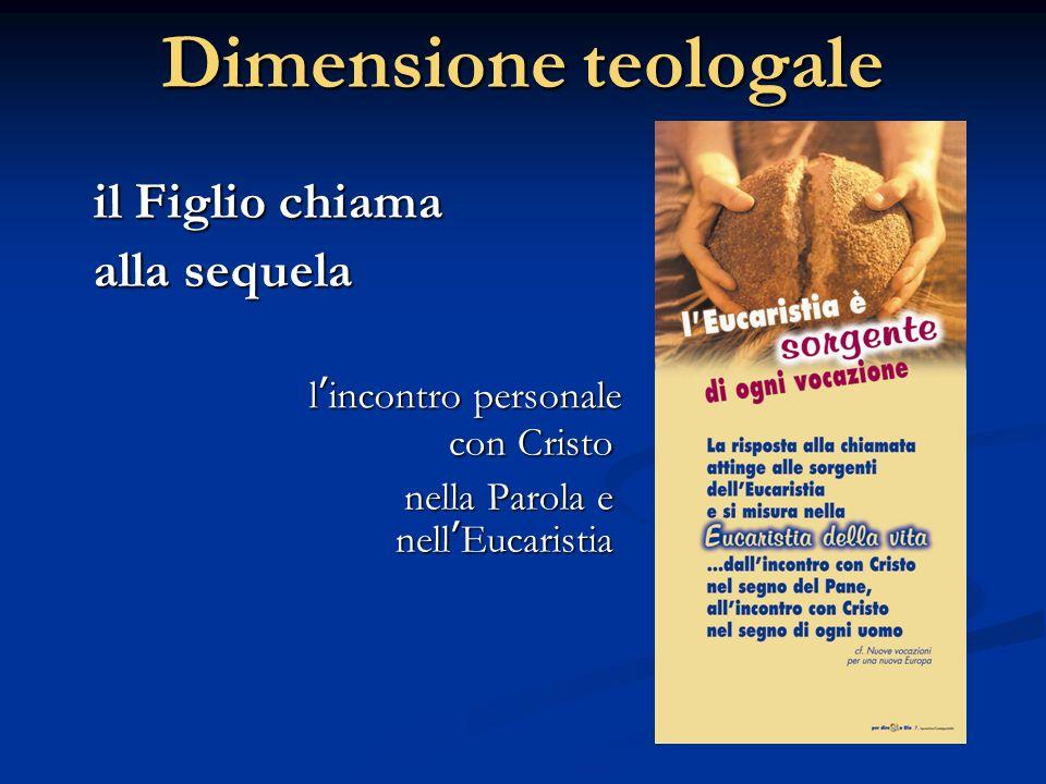 Dimensione teologale con Cristo nella Parola e nellEucaristia il Figlio chiama alla sequela lincontro personale