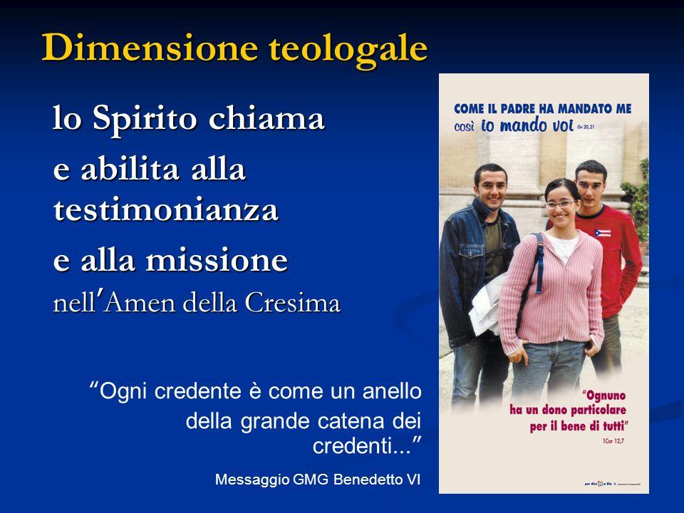 lo Spirito chiama e abilita alla testimonianza e alla missione nellAmen della Cresima Ogni credente è come un anello della grande catena dei credenti.