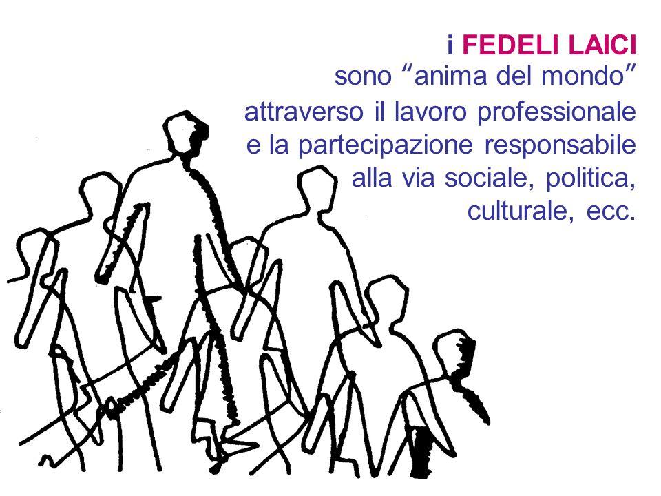 i FEDELI LAICI sono anima del mondo attraverso il lavoro professionale e la partecipazione responsabile alla via sociale, politica, culturale, ecc.