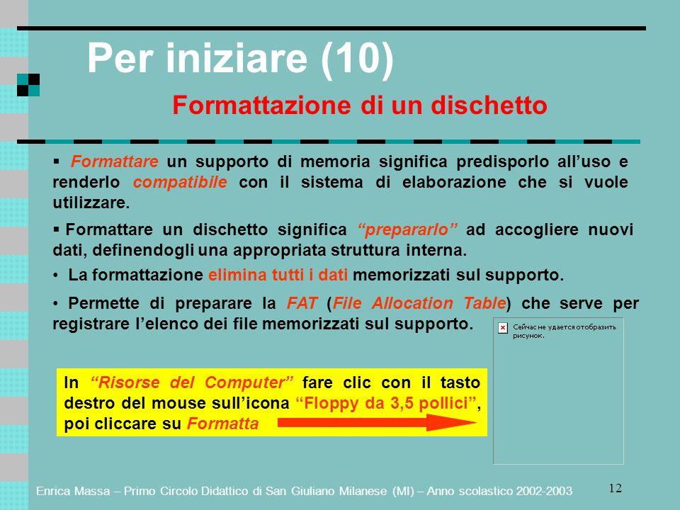Enrica Massa – Primo Circolo Didattico di San Giuliano Milanese (MI) – Anno scolastico 2002-2003 12 Per iniziare (10) Formattazione di un dischetto Fo