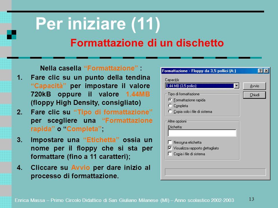Enrica Massa – Primo Circolo Didattico di San Giuliano Milanese (MI) – Anno scolastico 2002-2003 13 Per iniziare (11) Formattazione di un dischetto Nella casella Formattazione : 1.Fare clic su un punto della tendina Capacità per impostare il valore 720kB oppure il valore 1.44MB (floppy High Density, consigliato) 2.Fare clic su Tipo di formattazione per scegliere una Formattazione rapida o Completa; 3.Impostare una Etichetta ossia un nome per il floppy che si sta per formattare (fino a 11 caratteri); 4.Cliccare su Avvio per dare inizio al processo di formattazione.