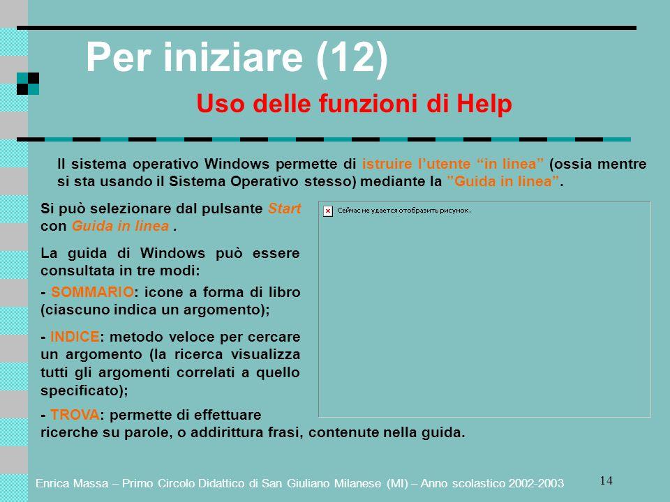 Enrica Massa – Primo Circolo Didattico di San Giuliano Milanese (MI) – Anno scolastico 2002-2003 14 Per iniziare (12) Uso delle funzioni di Help Il si