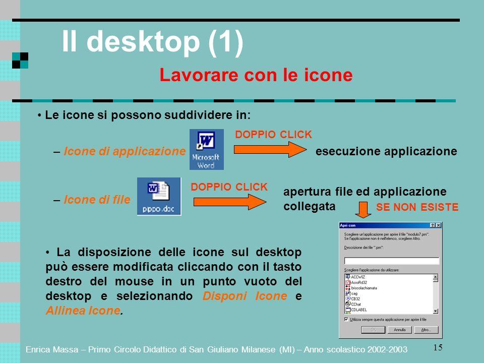 Enrica Massa – Primo Circolo Didattico di San Giuliano Milanese (MI) – Anno scolastico 2002-2003 15 Il desktop (1) Lavorare con le icone Le icone si p