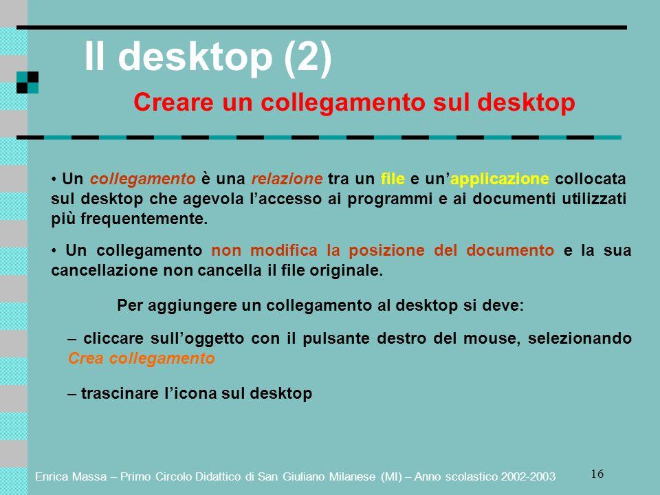 Enrica Massa – Primo Circolo Didattico di San Giuliano Milanese (MI) – Anno scolastico 2002-2003 16 Il desktop (2) Creare un collegamento sul desktop