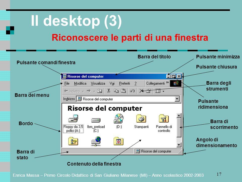 Enrica Massa – Primo Circolo Didattico di San Giuliano Milanese (MI) – Anno scolastico 2002-2003 17 Il desktop (3) Riconoscere le parti di una finestr
