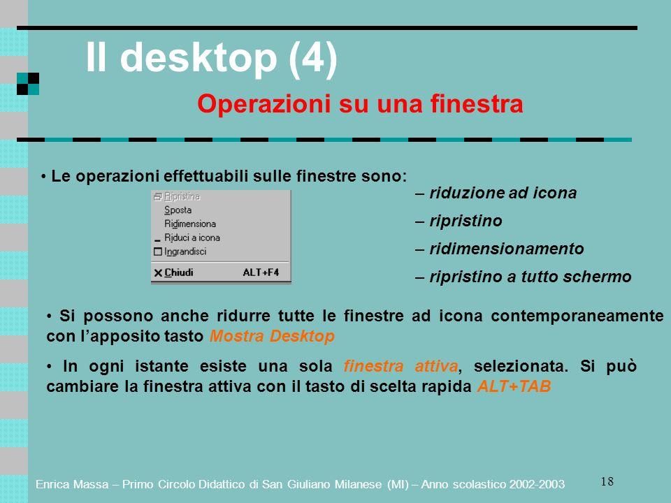 Enrica Massa – Primo Circolo Didattico di San Giuliano Milanese (MI) – Anno scolastico 2002-2003 18 Il desktop (4) Operazioni su una finestra Le opera