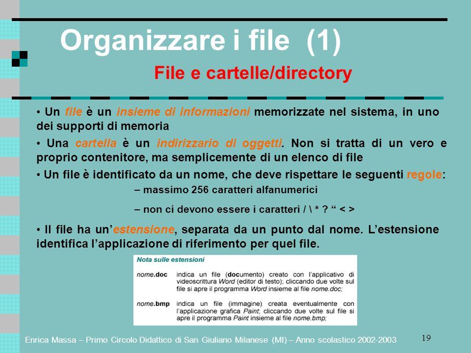 Enrica Massa – Primo Circolo Didattico di San Giuliano Milanese (MI) – Anno scolastico 2002-2003 19 Organizzare i file (1) File e cartelle/directory Un file è un insieme di informazioni memorizzate nel sistema, in uno dei supporti di memoria Una cartella è un indirizzario di oggetti.
