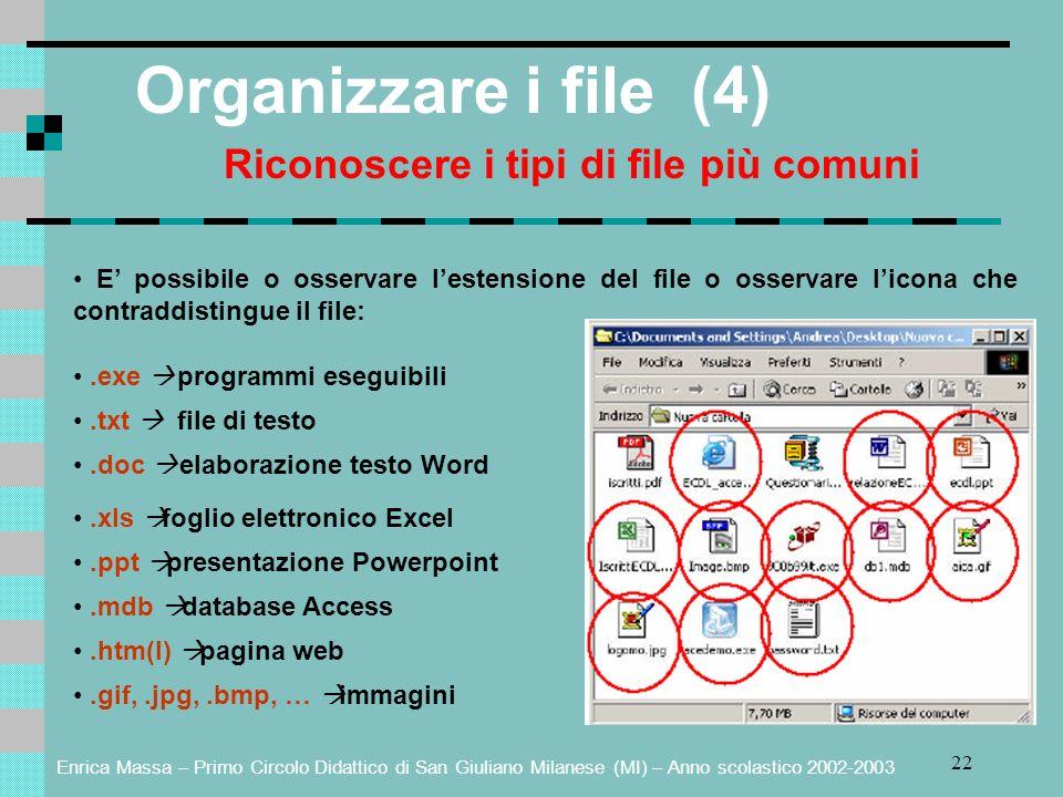 Enrica Massa – Primo Circolo Didattico di San Giuliano Milanese (MI) – Anno scolastico 2002-2003 22 Organizzare i file (4) Riconoscere i tipi di file