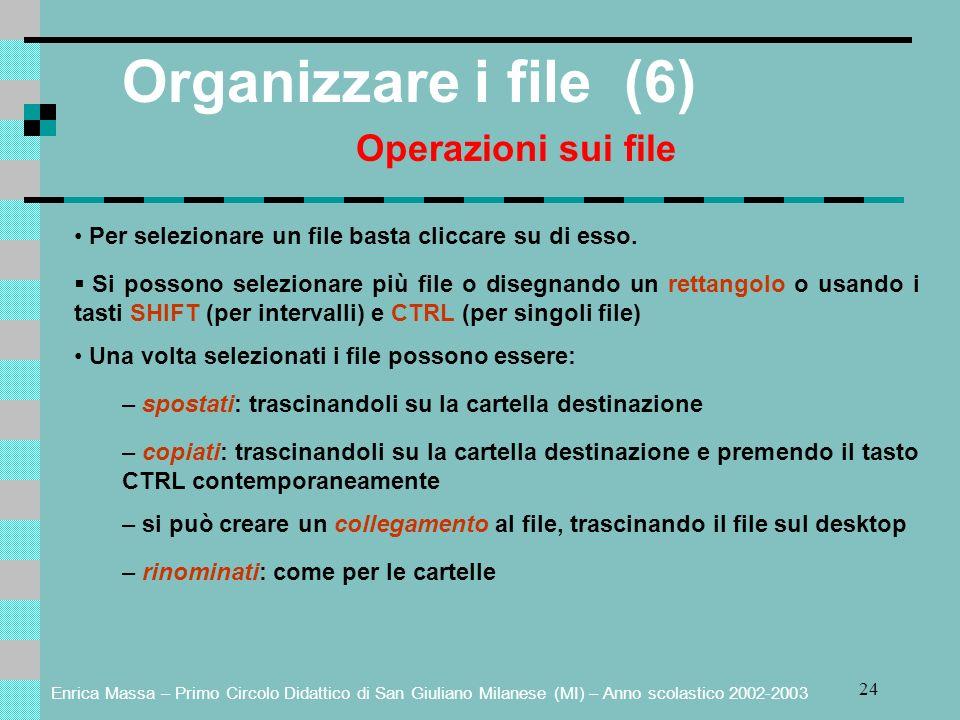 Enrica Massa – Primo Circolo Didattico di San Giuliano Milanese (MI) – Anno scolastico 2002-2003 24 Organizzare i file (6) Operazioni sui file Per selezionare un file basta cliccare su di esso.