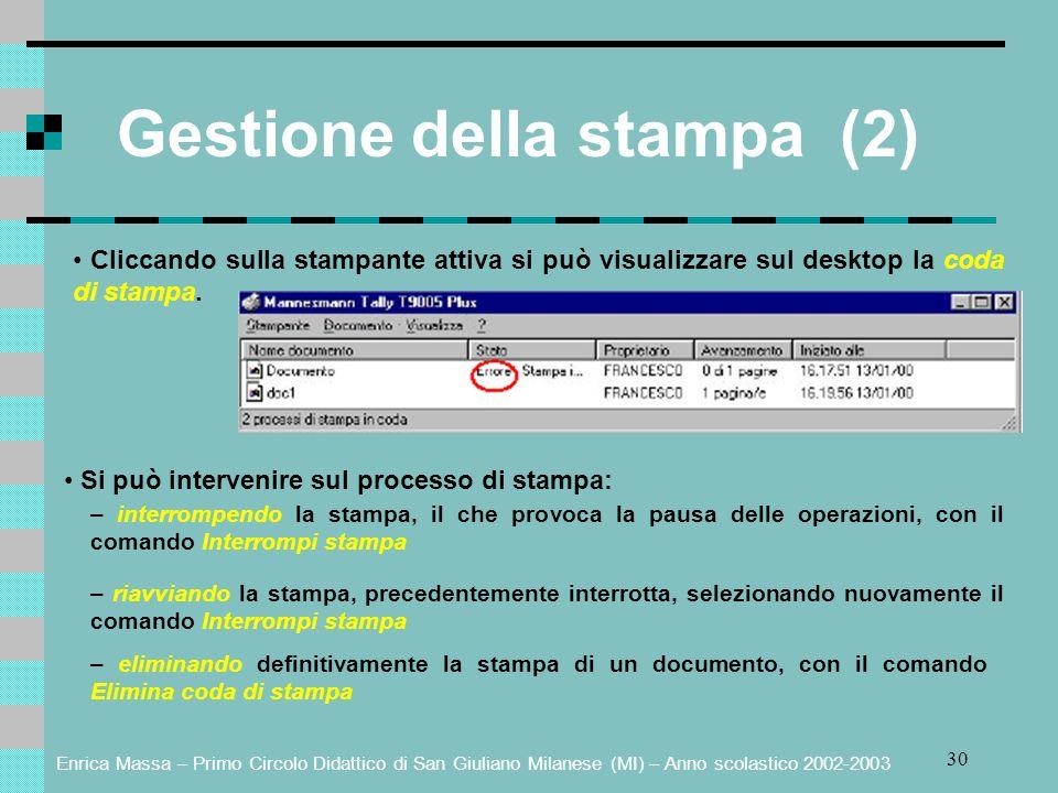 Enrica Massa – Primo Circolo Didattico di San Giuliano Milanese (MI) – Anno scolastico 2002-2003 30 Gestione della stampa (2) Cliccando sulla stampant
