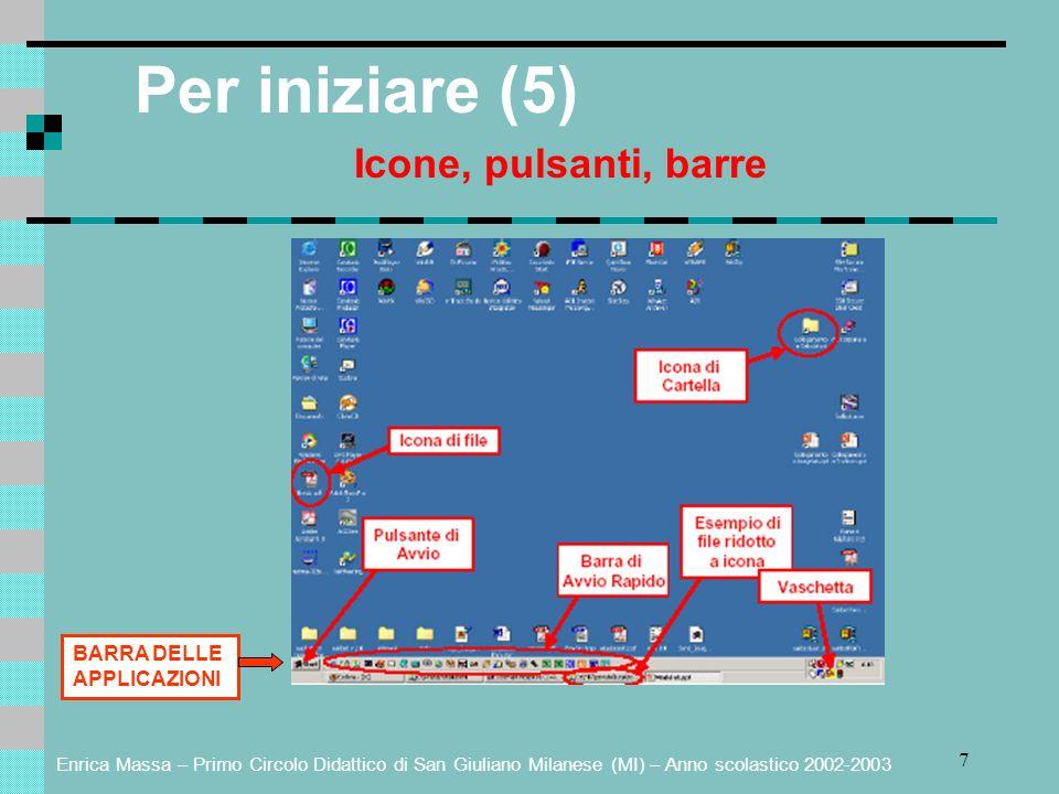 Enrica Massa – Primo Circolo Didattico di San Giuliano Milanese (MI) – Anno scolastico 2002-2003 7 Per iniziare (5) Icone, pulsanti, barre BARRA DELLE APPLICAZIONI