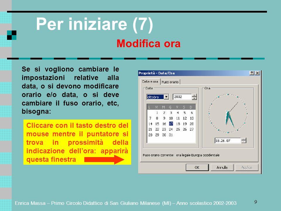 Enrica Massa – Primo Circolo Didattico di San Giuliano Milanese (MI) – Anno scolastico 2002-2003 30 Gestione della stampa (2) Cliccando sulla stampante attiva si può visualizzare sul desktop la coda di stampa.