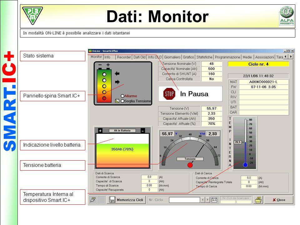 Dati: Monitor In modalità ON-LINE è possibile analizzare i dati istantanei Stato sistema Pannello spina Smart.IC+ Indicazione livello batteria Tension