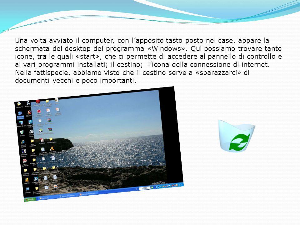 Una volta avviato il computer, con lapposito tasto posto nel case, appare la schermata del desktop del programma «Windows».