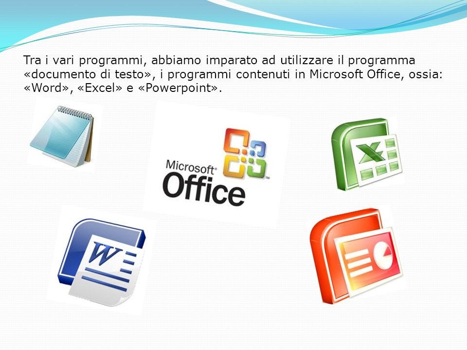 Tra i vari programmi, abbiamo imparato ad utilizzare il programma «documento di testo», i programmi contenuti in Microsoft Office, ossia: «Word», «Excel» e «Powerpoint».