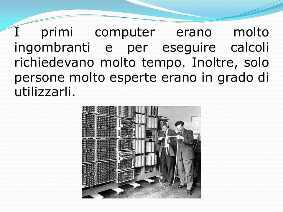 I primi computer erano molto ingombranti e per eseguire calcoli richiedevano molto tempo.