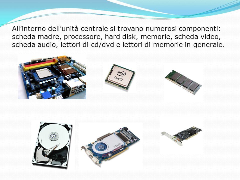 Allinterno dellunità centrale si trovano numerosi componenti: scheda madre, processore, hard disk, memorie, scheda video, scheda audio, lettori di cd/dvd e lettori di memorie in generale.